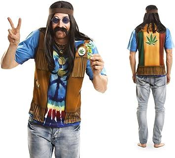 Disfraz Camiseta de Hippie Original de Carnaval para Hombre M de ...