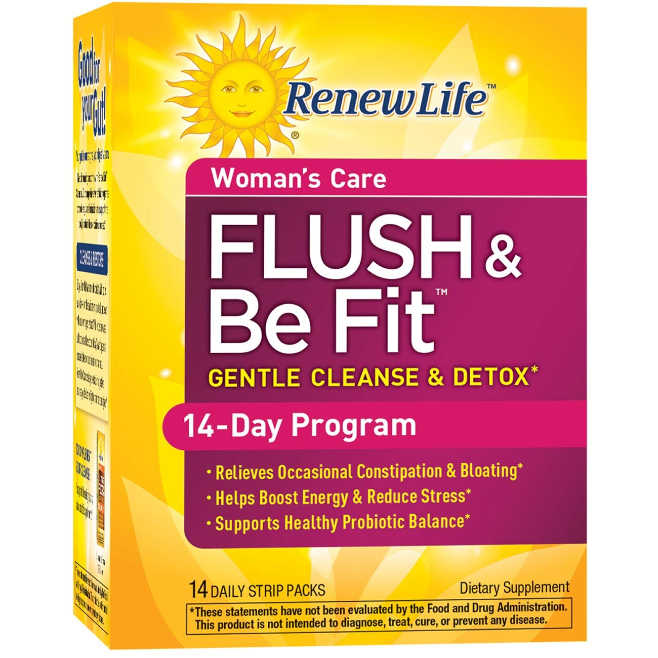 Renew Life Women's Cleanse - Flush & Be Fit - 3-Part, 14-Day Program - Dairy Free - 14 Daily Strip Packs by Renew Life