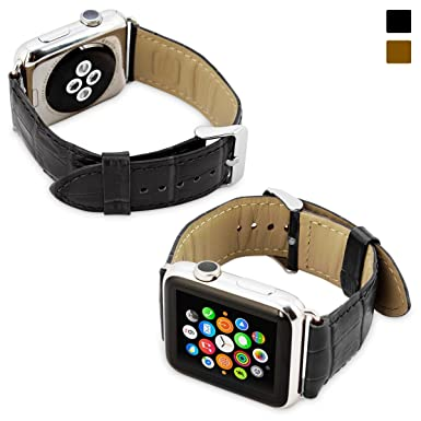 Snugg Apple Watch Genuine Leather Strap with (Black) - 38mm Wrist Strap for The Apple Watch