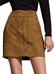 WDIRARA Women's Casual Pocket Side Zip Back Solid Suede Straight Mini Skirt