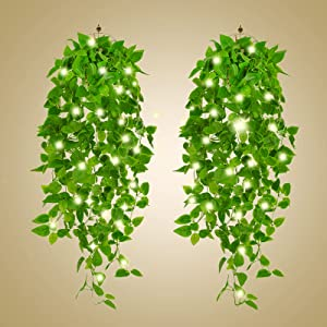 Artificial Hanging Plants 2pcs 3.3ft Fake Ivy Vine Fake Ivy Leaves with 2pcs 20 LED Fairy Lights for Wall Home Room Garden Wedding Garland Outside Decoration (No Baskets)