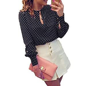 FCYOSO Women Casual Polka Dots Long Sleeve Blouses Chiffon Shirt Tops (US,S/Asia,M) Black