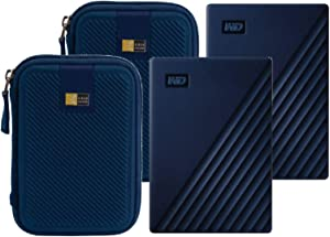 2 WD 4TB My Passport for Mac USB 3.0 External Hard Drive (Midnight Blue) + 2 Compact Hard Drive Cases