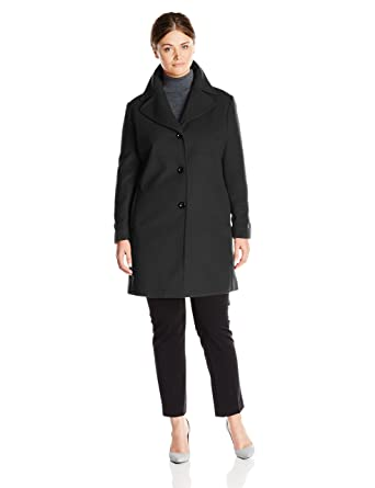 Larry Levine Women's Plus-Size Single-Breasted Wool Coat at Amazon ...