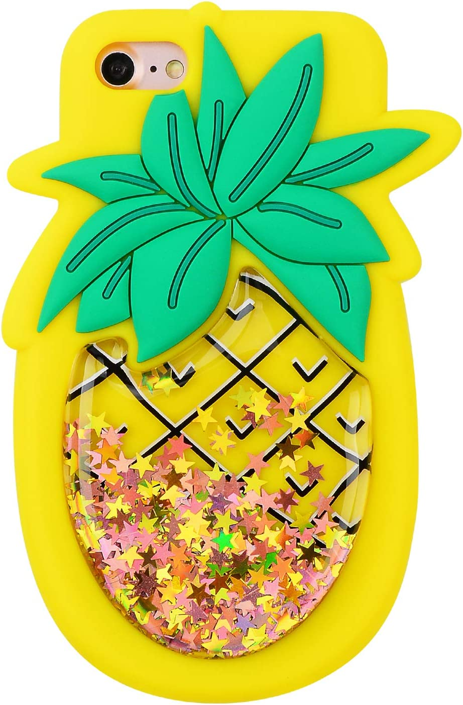 Quicksand Pineapple Case for iPhone 6 6S,Soft Cute Silicone 3D Cartoon Fruit Food Cover,Shockproof Vivid Color Kids Girls Bling Glitter Rubber Kawaii Character Fashion Cases for iPhone 6 4.7""