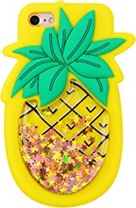 Quicksand Pineapple Case for iPhone 8/iPhone 7,Soft Cute Silicone 3D Cartoon Fruit Food Cover,Shockproof Vivid Color Kids Girls Boys Bling Glitter Rubber Kawaii Character Fashion Cases for iPhone8 7
