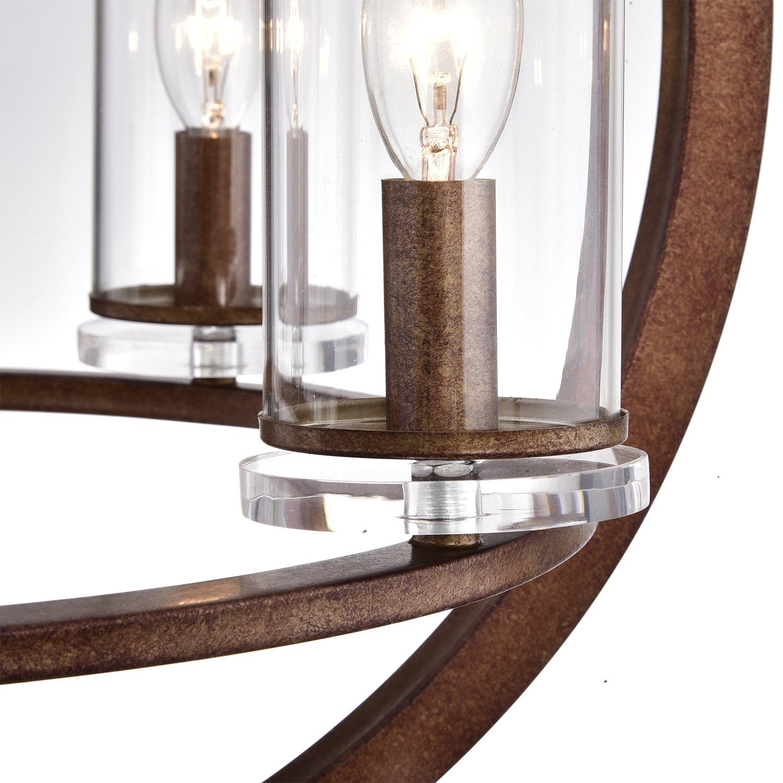 Amazon.com: 4 lámparas de techo de cobre envejecido, cristal ...