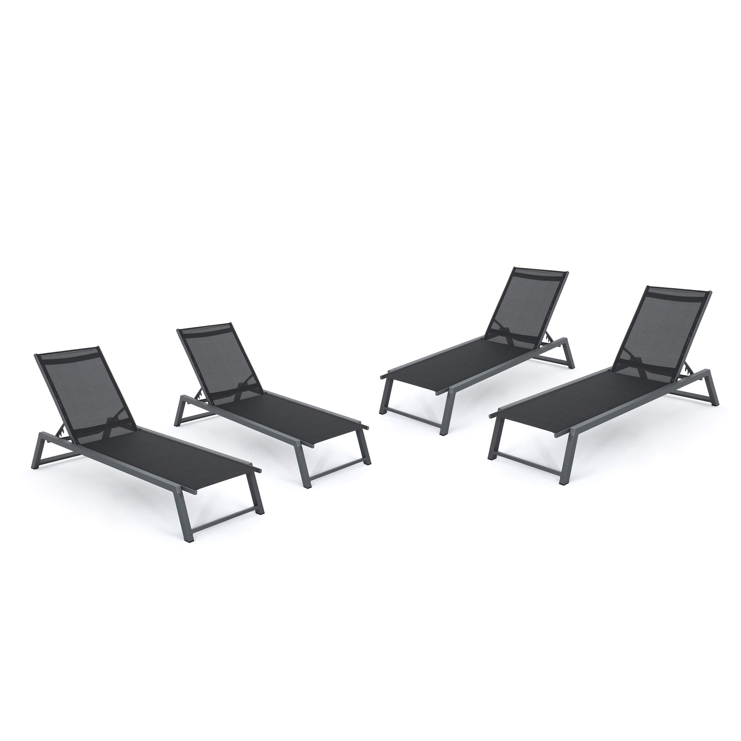 Christopher Knight Home Mesa Outdoor Black Mesh Chaise Lounge with Grey Finished Aluminum Frame (Set of 4)