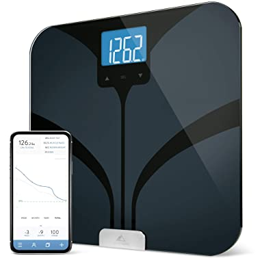 Bluetooth Smart Body Fat Scale by GreaterGoods, Weight Gurus Secure Connected Solution for your Data, including BMI, Body Fat, Muscle Mass, Water Weight, and Bone Mass, Large Backlit Display