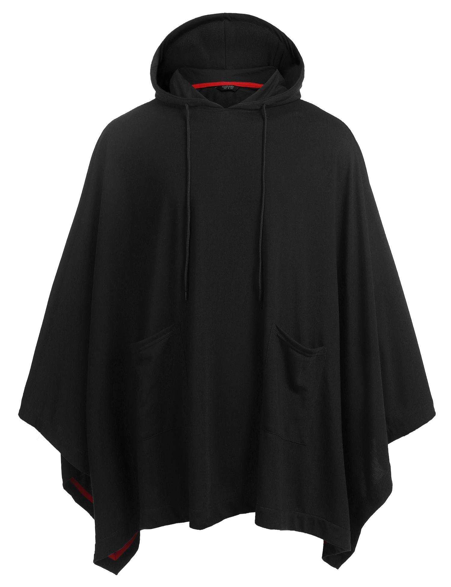 Coofandy Unisex Casual Hooded Cloak Poncho Cape Coat with Pocket Black Medium