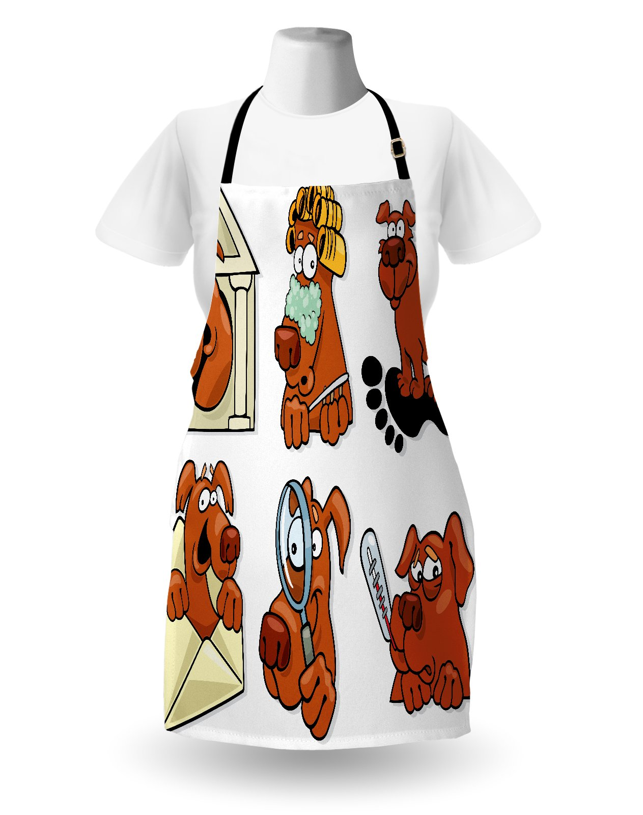Lunarable Dog Lover Apron, Dog Beauty Spa Toothy Smiling Sick Cheerful Looking Magnifying Action, Unisex Kitchen Bib Apron with Adjustable Neck for Cooking Baking Gardening, Cinnamon Coconut White by Lunarable (Image #2)
