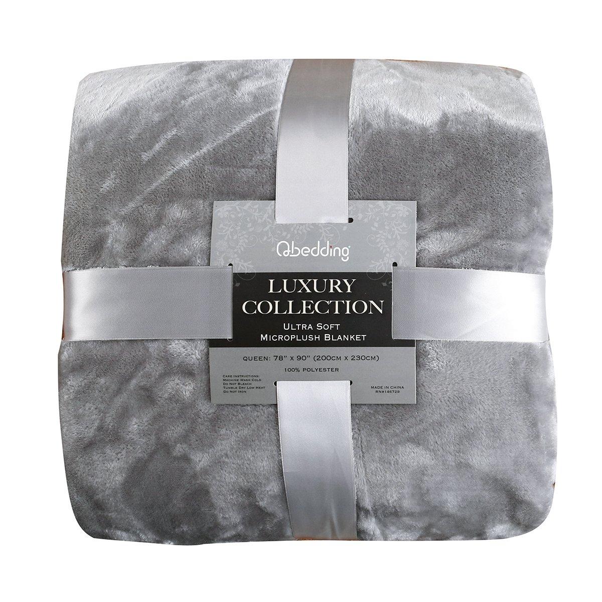 Qbedding Inc. Luxury Collection Ultra Soft Plush Lightweight All-Season Throw/Bed Blanket, King, Gray