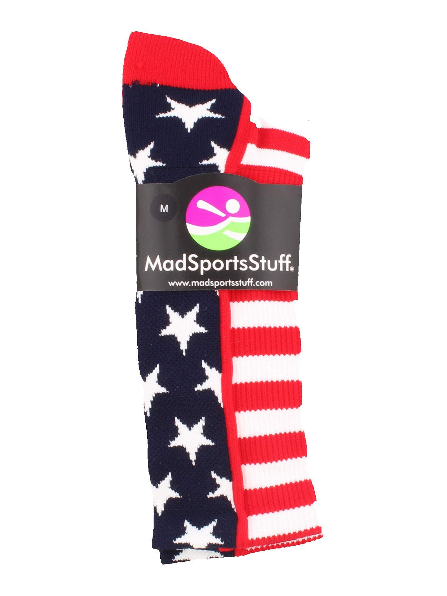 MadSportsStuff USA American Flag Stars Stripes Crew Socks (Navy/Red/White, Small) by MadSportsStuff (Image #2)