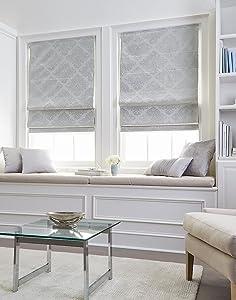 "Curtainworks 6Z200601SV Damask Window Shade, 23"" W x 64"" L, Silver"