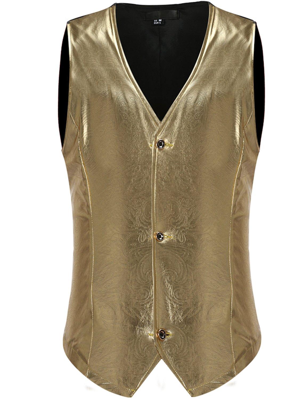 ZEROYAA Mens Night Club Metallic Single Breasted Paisley Suit Vest/Tuxedo Costume Waistcoat Z46 Gold X Large