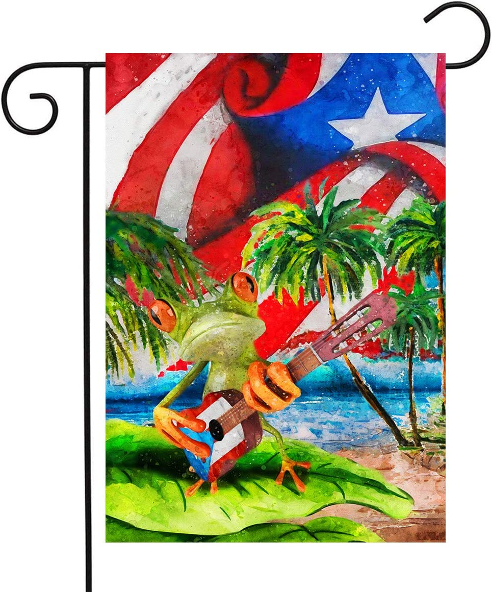Puerto Rico Flag 12 x 18 Puerto Rico Frog Playing Guitar Flag Double Sided Outdoor Vertical Garden Flag Outdoor Yard Decor