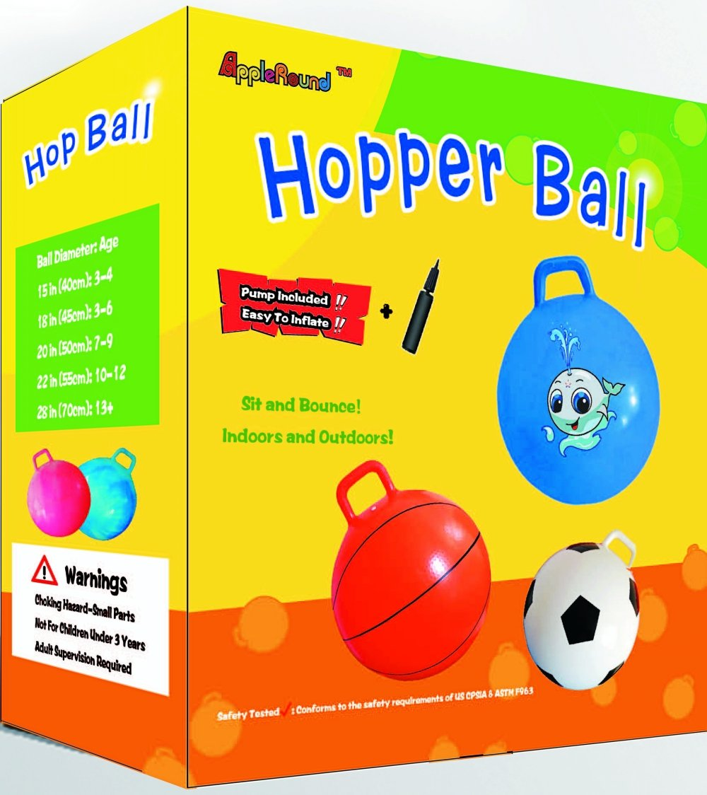 AppleRound Space Hopper Ball with Air Pump: 20in/50cm Diameter for Ages 7-9, Hop Ball, Kangaroo Bouncer, Hoppity Hop, Jumping Ball, Sit & Bounce (Blue Cloud)
