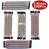HiLetgo 200pcs/5x40pcs Breadboard Jumper Wires Dupont Wire Male to Male, Male to Female, Female to Female, 2.54mm to 2.54mm, 2.54mm to 2.0mm, 2.0mm to 2.0mm 20CM Cables Assortment Kit for Arduino DIY