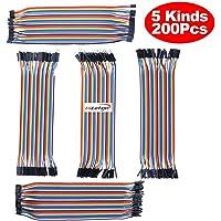 Hiletgo Dupont Breadboard Jumper Fil 20 cm de long 2,54 mm/2.0 mm cinq types Assortiment kit (lot de 200 pcs)