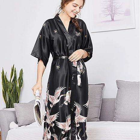 Amazon.com: Silk Pajamas Womens Clothing Autumn Long Section ...