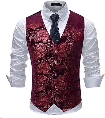 Cloudstyle Mens Single Breasted Vest Dress Vest Slim Fit Button Down Prom Formal Suit Vest Waistcoat