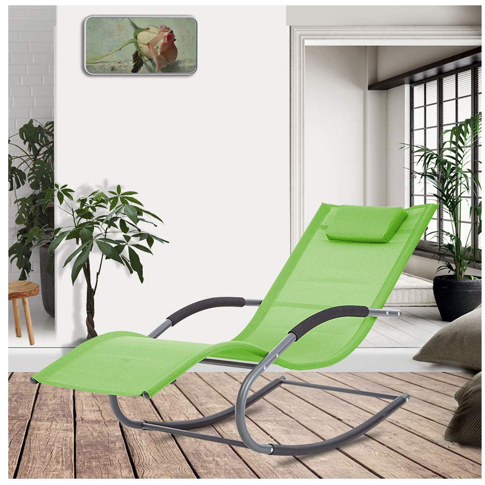 LUCKUP Outdoor Recliner Pool Chaise Patio Rocking Wave Lounger Chair with Pillow for Garden,Poolside,Backyard,Green