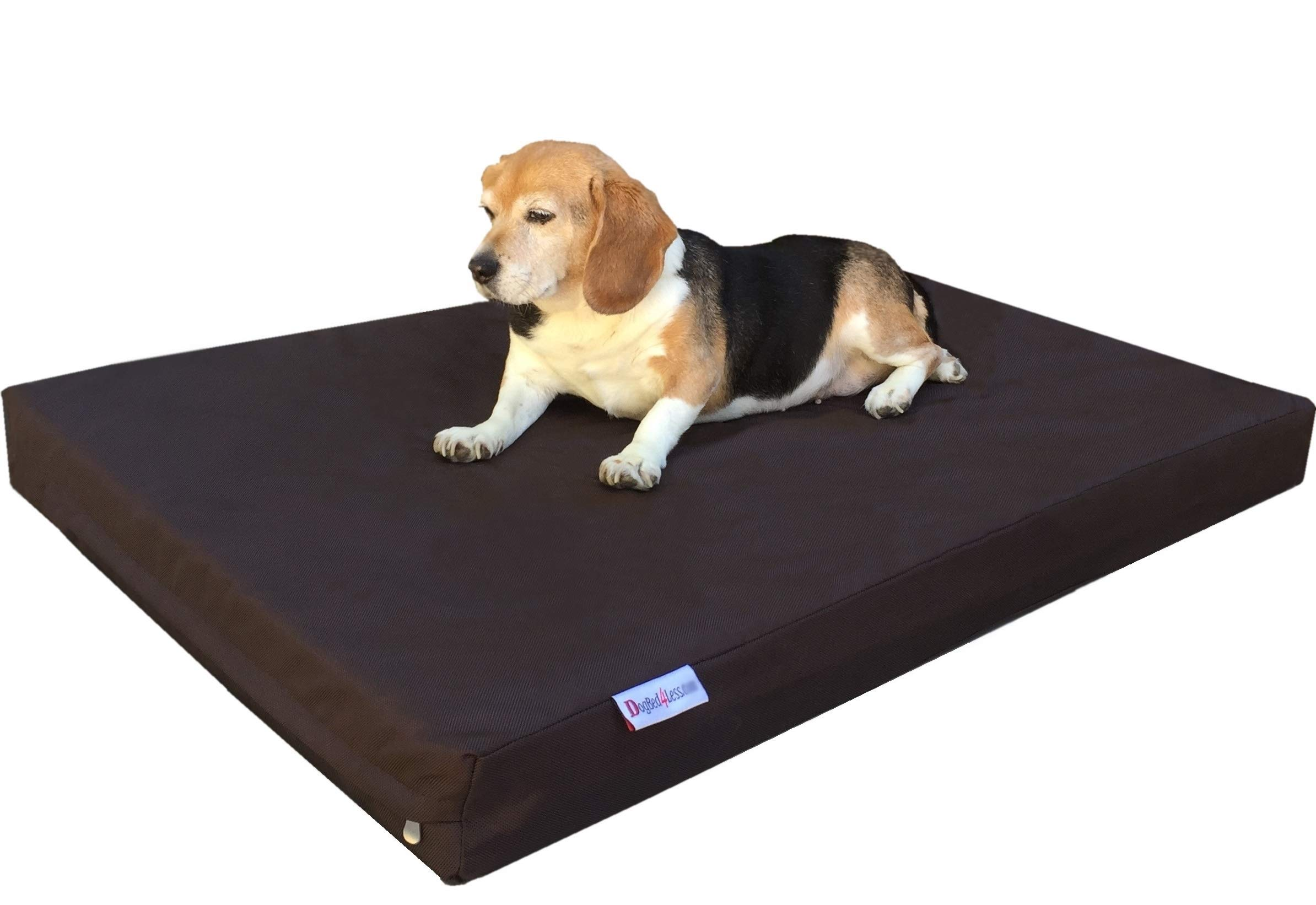 Dogbed4less Durable Large Gel Memory Foam Dog Bed with 1680 Nylon Brown Cover and Waterproof Liner with Bonus Cover, 41X27X4 Inch (Fit 42X28 Crate)