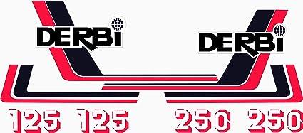 Juego Pegatinas Completo m/áxima Calidad. Vinilo para Moto Kit de adhesivos motos clasicas DERBI RC 125 Y 250 Negro Y Blanco