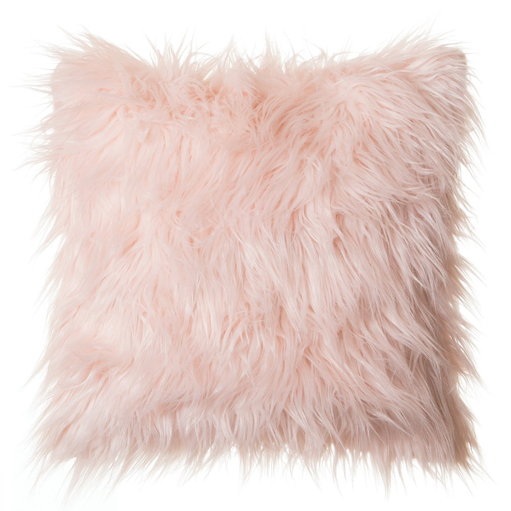 Faux Fur Throw Pillow 18''x18'' (Cover Only), Mongolian Long Hair Pink by North End Décor