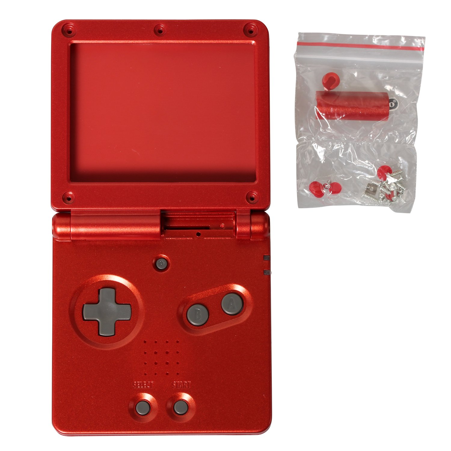 eJiasu Full Housing Shell Case Cover Pack Replacement Repair Parts for Gameboy Advance SP GBA SP (GBA SP Shell Set Red)