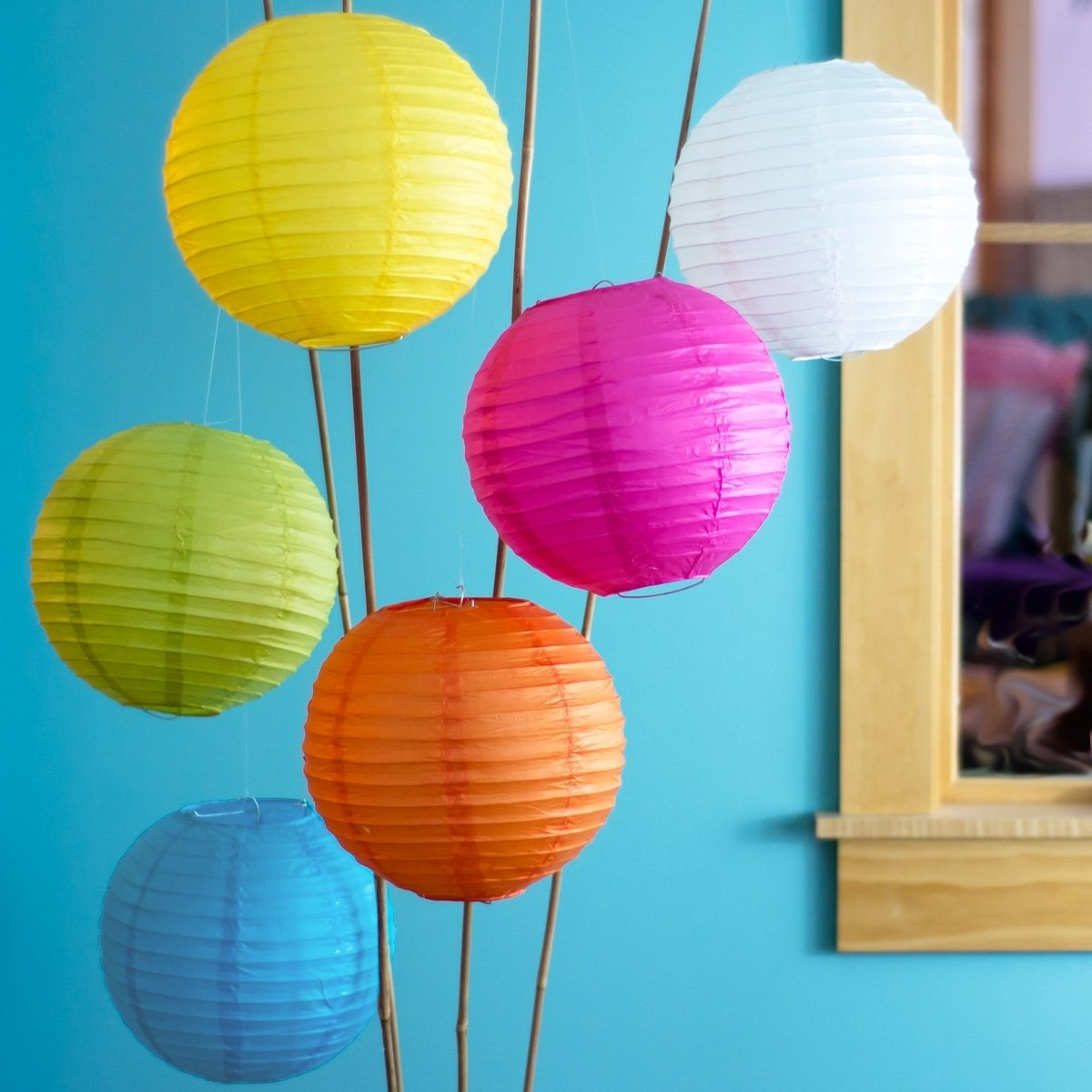 Luna Bazaar Paper Lanterns (10-Inch, Parallel Style Ribbed, Multicolor, Set of 6) - Rice Paper Chinese/Japanese Hanging Decorations - For Home Decor, Parties, and Weddings