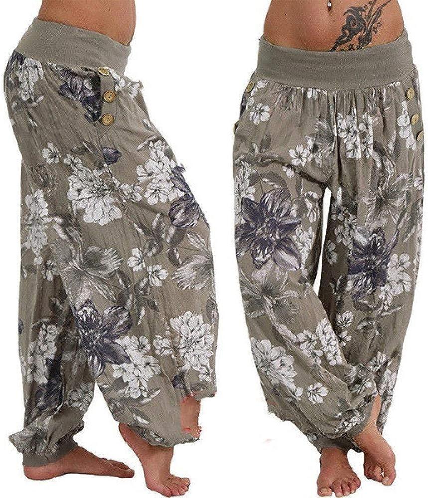 2020 Pantalones de Verano para Mujer Pantalones de harén con Estampado Bohemio Pantalones de Pierna Ancha de Cintura Baja para Mujer Pantalones Sueltos Casuales Talla Grande 5XL
