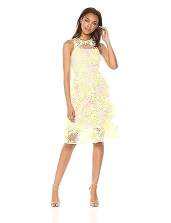 28ba30035e87 Amazon.com: Trina Trina Turk Women's Arroyo Tea Length Lace Dress: Clothing