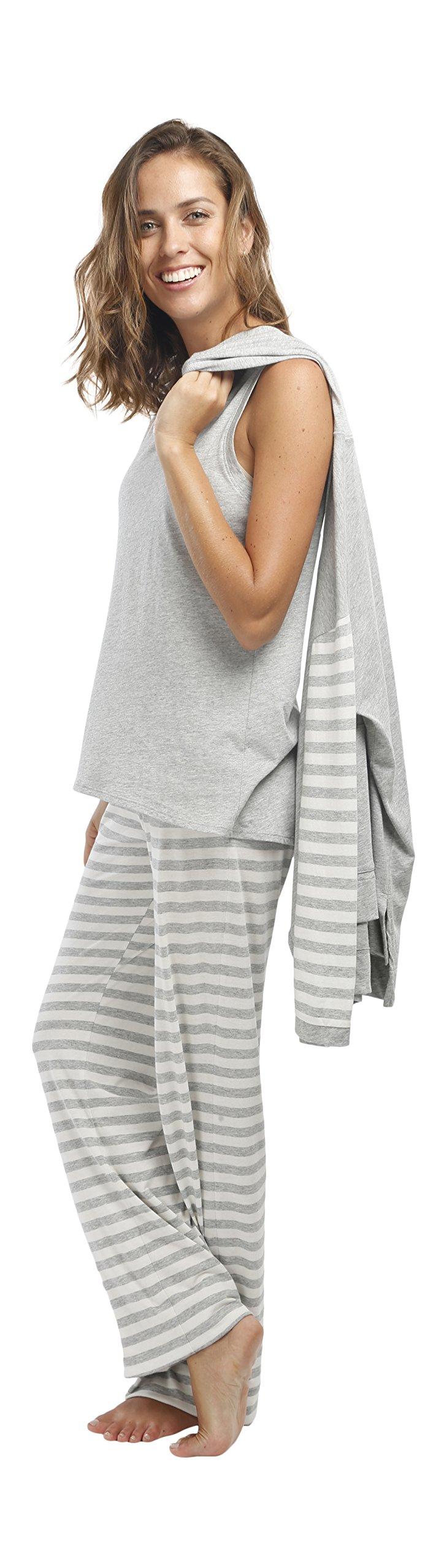 jijamas Incredibly Soft Pima Cotton Women's Pajama Set ''The Hoodie Set'' In Heather Grey by jijamas (Image #2)