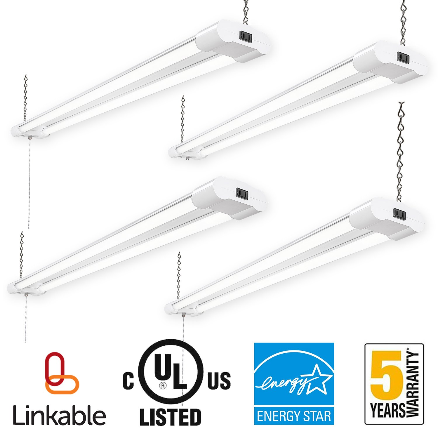 Amico Linkable 4FT LED Utility Shop Lights for Garage,40W Double Fixture UL and Energy Star,4000 Lumens 120W Eq. 5000K Daylight,Hanging lighting with Pull Chain Switch for Workshop Basement (4 pack) by Amico