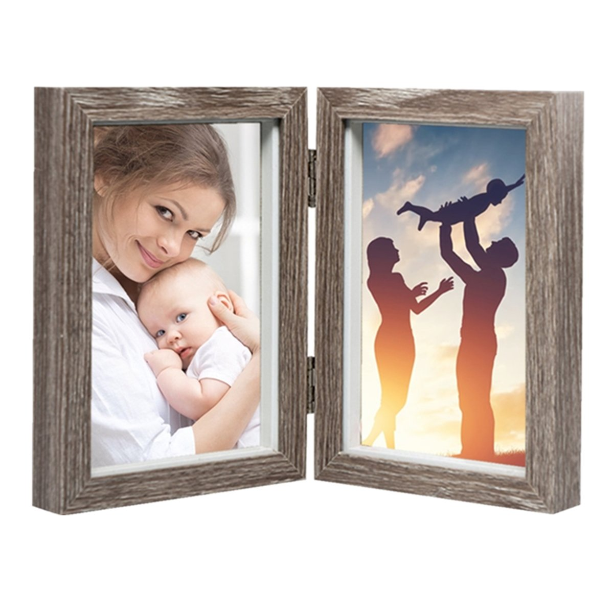 CECIINION Hinged Double Picture Frame, Wood Photo Frames (For 4x6 inch photos, Darker wood color)