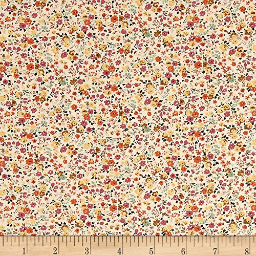 Kaufman Sevenberry Petite Garden Bunches Summer Fabric By The (Brown Calico Fabric)