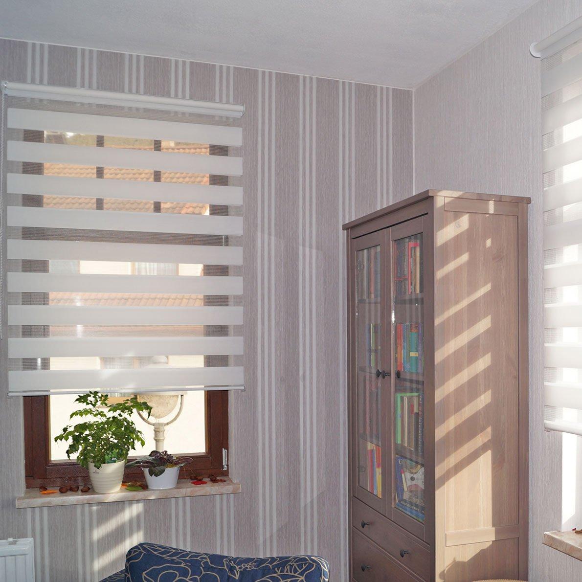 Victoria M - Estor doble enrollable (para ventanas y puertas) 80 x 175 cm, blanco: Amazon.es: Hogar