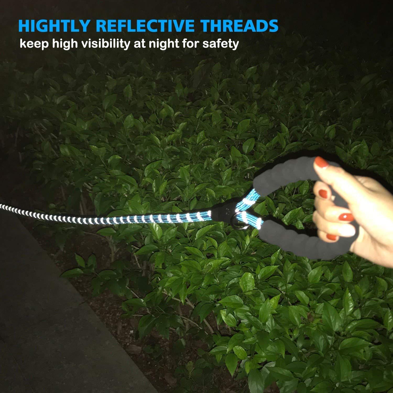 LLGLEU 5FT Hundeleine mit Bequemen Gepolsterten Griff Starke Reflexnähte der Trainingsleine für Sicherheit Nachts, eignet für Alle Größe Hunde (Schwarz & Blau)