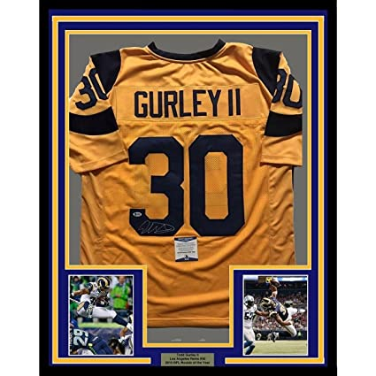 cheaper 307a7 f2b27 Todd Gurley Signed Jersey - FRAMED 33x42 LA Yellow Beckett ...