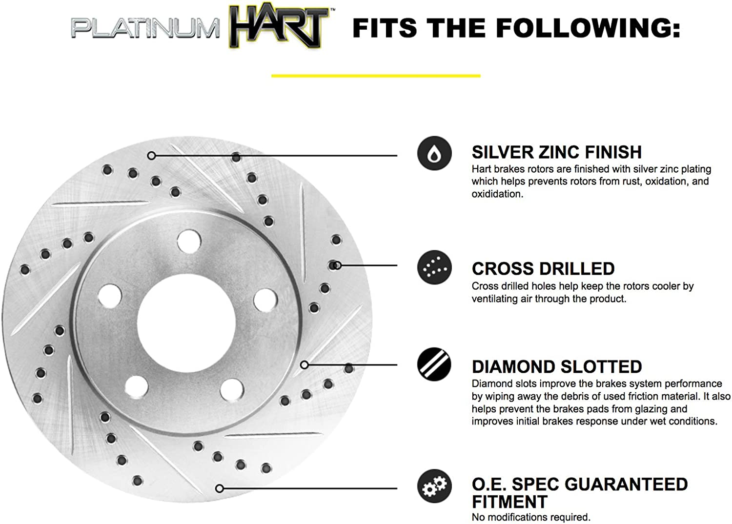 FULL KIT PLATINUM HART DRILLED SLOT  BRAKE ROTORS AND CERAMIC PAD PHCC.3508002