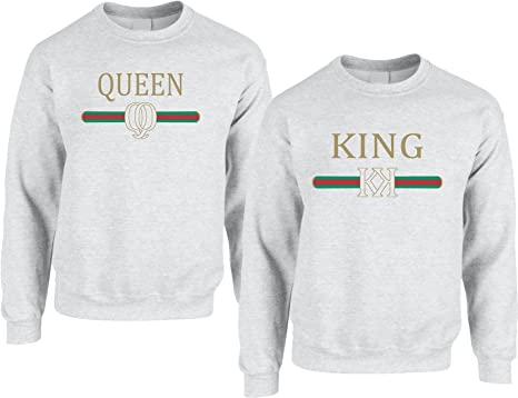 f71101e2d9 Allntrends Adult Couple Sweatshirts King Queen Fashion Trending Valentine's  Gift (Womens 2XL Mens S,