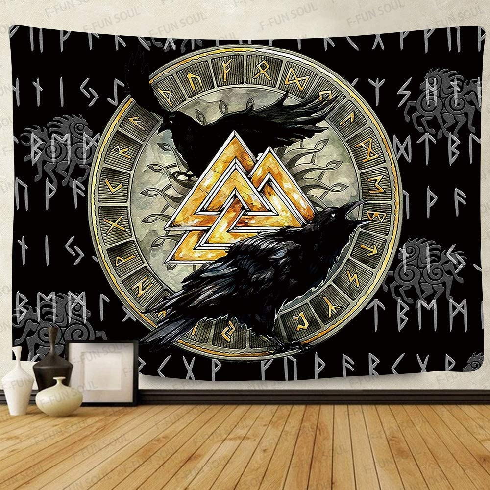F-FUN SOUL Viking Raven Tapestry, Large 80x60inches Soft Flannel, Mysterious Viking Meditation Psychedelic Runes Art Wall Hanging Tapestries for Living Room Bedroom Decor Banner GTZYFS418