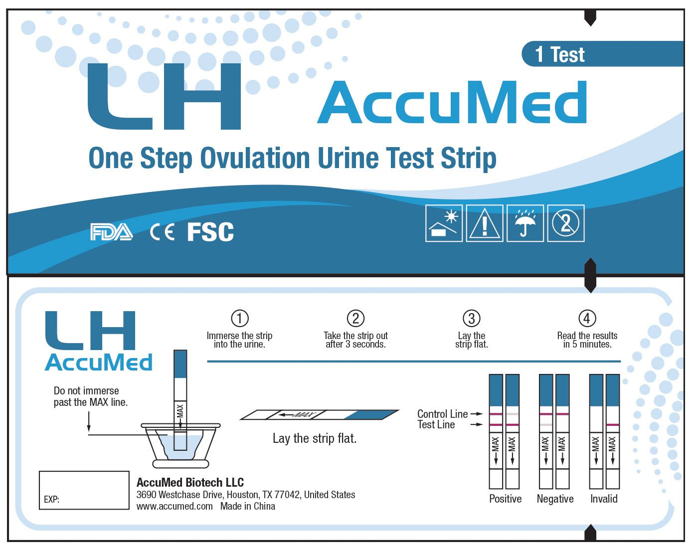 AccuMed® Ovulation (LH) Test Strips Kit, Clear and Accurate Results, FDA Approved and Over 99% Accurate, 100 count