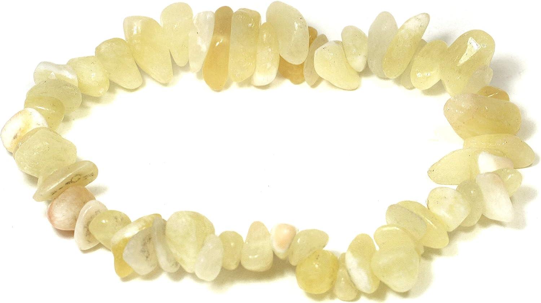 CrystalAge Pulsera de piedras preciosas de calcita amarilla