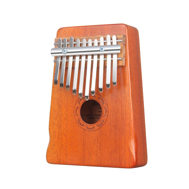 Amosic Kalimba Thumb Piano 10 Keys Mbira Sanza Mahogany Body, Easy to Learn, with Musical Instruction and Tuning Tool