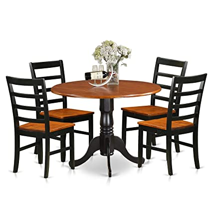 East West Furniture DLPF5-BCH-W 5 Piece Small Kitchen Table and 4 Dining  Chairs Set