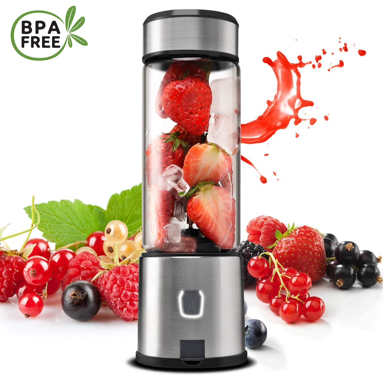 Personal Blender Glass, TOPQSC USB Rechargeable Portable Blender for Shake and Smoothie, Small Portable Blender Juicer Cup, Single Serve Blender Cordless Fruit Mixer with 5200 mAh Rechargeable Battery for Juice, Protein Shake, Baby Food by TOPQSC