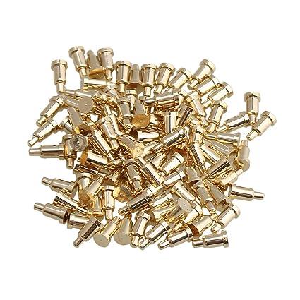 Yibuy 100pcs 2mm Dia 4mm Height Copper Current Copper Pogo Pins Probe Golden