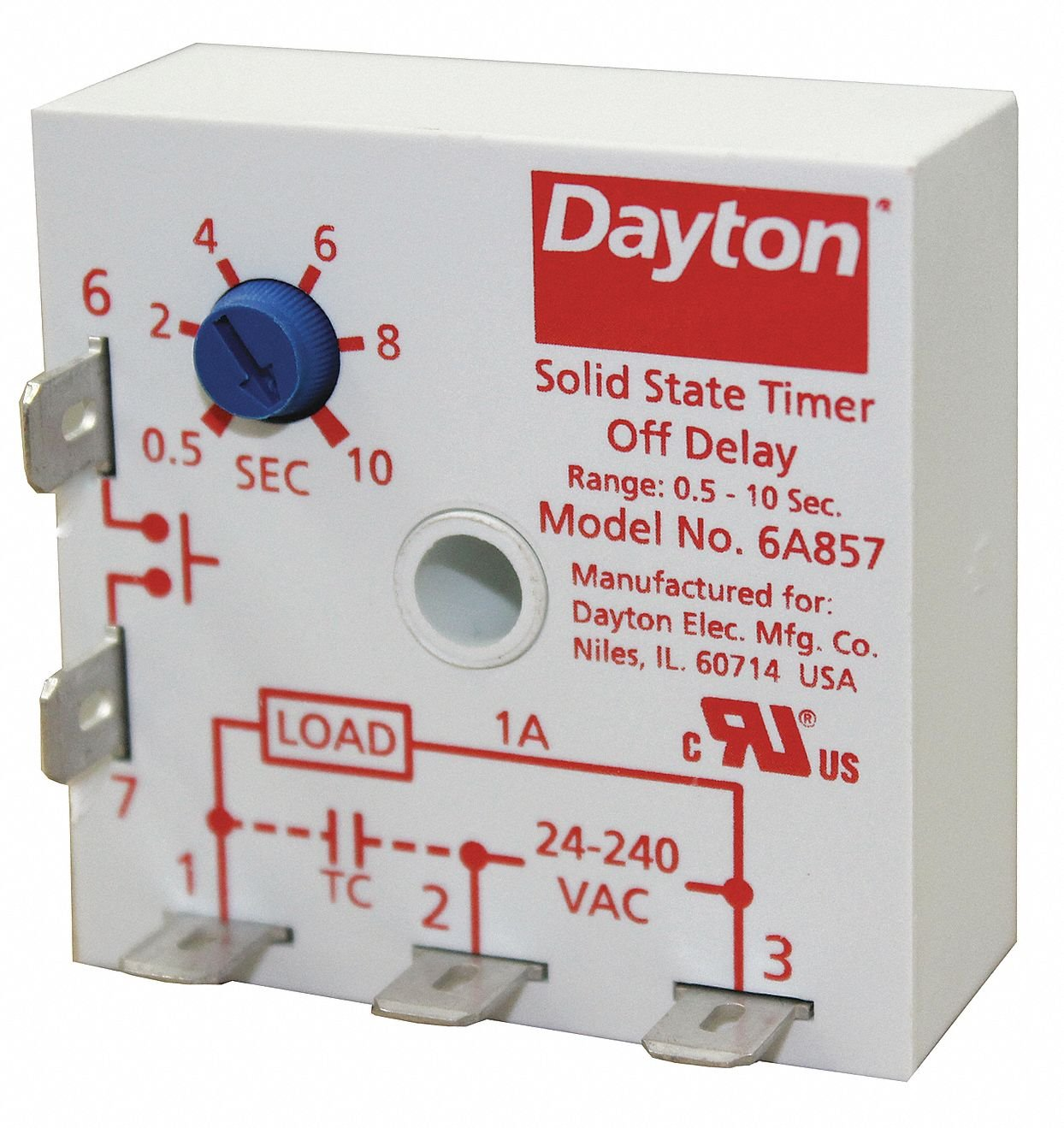 Dayton Encapsulated Timer Relay, Function: Off Delay, Status ... on
